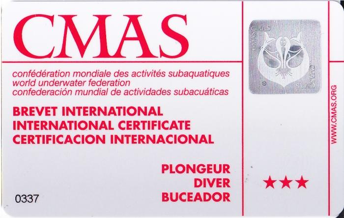CMAS Three Star Diver Certification