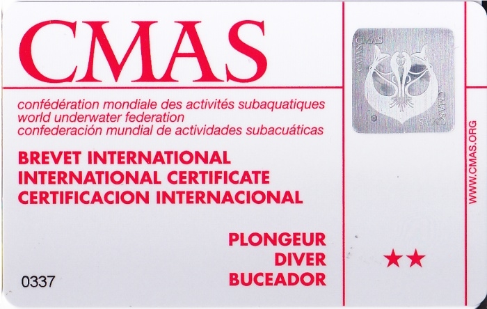 CMAS Two Star Diver Certification